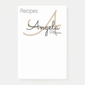 Post-it® notes de recette du monogramme de chef