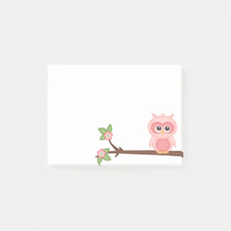 Colorful Cute Owl Hoot Pink Baby Birds on Branch