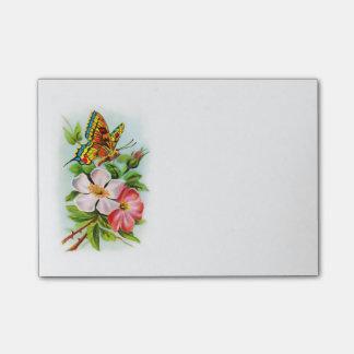 Post-it® Papillon vintage sur des fleurs