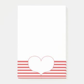 Post-it® Rayures et coeur rouges et blancs