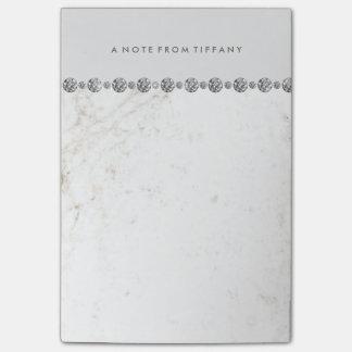 Post-it® Regard blanc élégant de marbre et de diamant sur