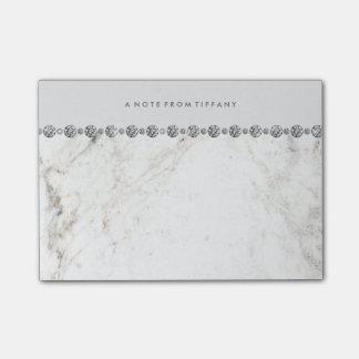 Post-it® Regard blanc fascinant de marbre et de diamant sur