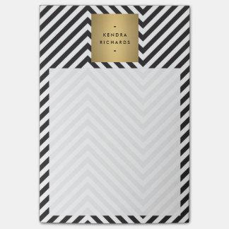 Post-it® Rétro logo noir et blanc de nom d'or de motif