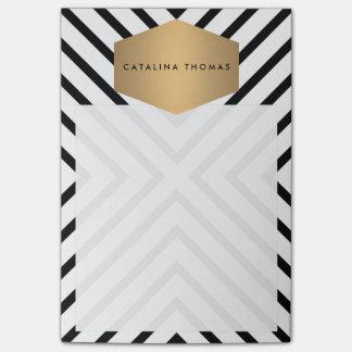 Post-it® Rétro motif noir et blanc de mod avec l'emblème