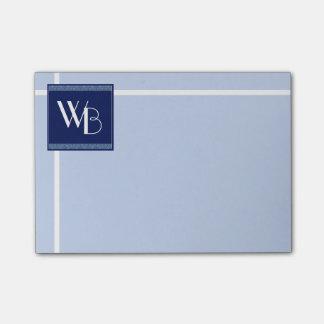 Post-it® Simplicité bleue décorée d'un monogramme
