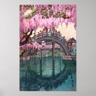 Poster 亀戸天神, pont de Kameido, Hiroshi Yoshida, gravure
