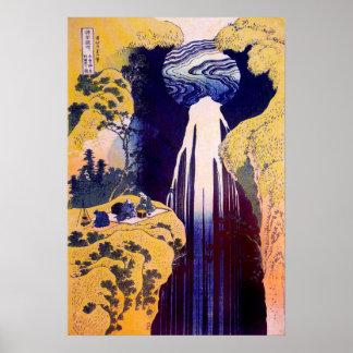 Poster 木曽路の滝, cascade de Kiso-route, Hokusai, Ukiyo-e