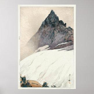 Poster 槍ヶ岳, bâti Yari, Hiroshi Yoshida, gravure sur bois