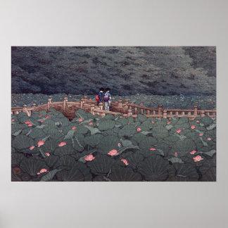 Poster 芝弁天池, Lotus d'étang de Benten, Hasui Kawase,