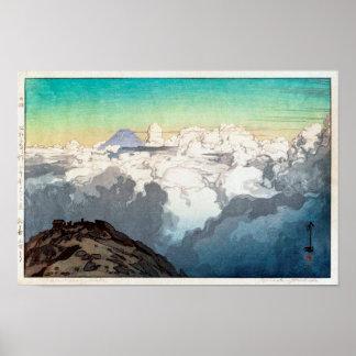 Poster 駒ヶ岳山頂, crête de Komagatake, Yoshida, gravure sur