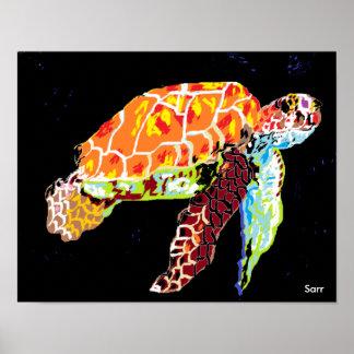 """Poster 14"""" x 11"""", tortue de mer (mate) de papier"""