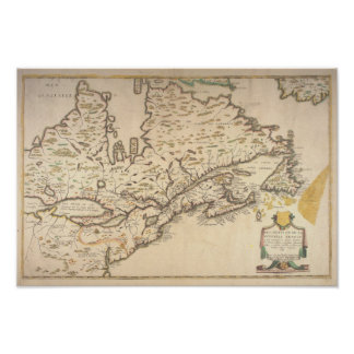 Poster 1643 French Map of New France