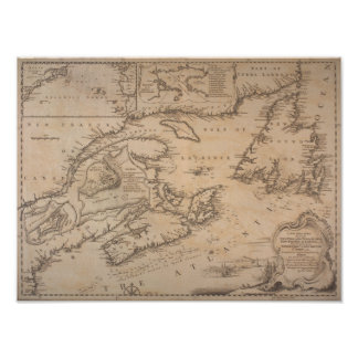 Poster 1746 Map Coast of New England and New France
