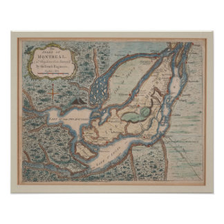 Poster 1761 Map of Montreal