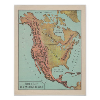 Poster 1920's French North America Physical Map