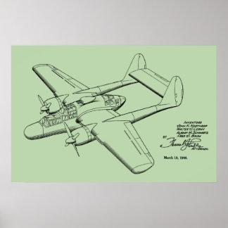 Poster 1946 copies vintages d'art de dessin de brevet