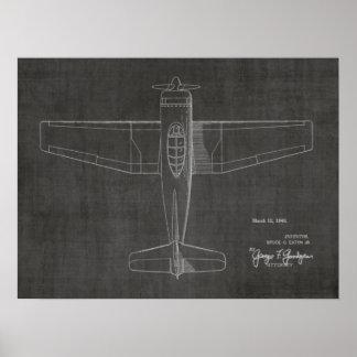 Poster 1946 copies vintages de dessin d'art de brevet
