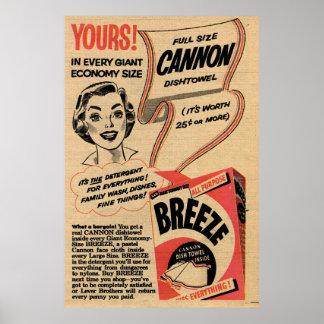 Poster 1955 poudres à laver vintages Canva étiré par