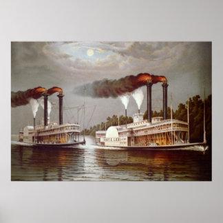 Poster 19ème siècle de course de vapeurs des Etats-Unis
