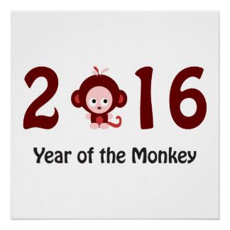 Poster 2016 ans mignon du singe