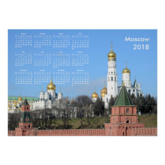 Poster 2018 calendrier Moscou (Russie)