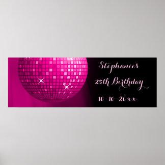 Poster 25ème boule fascinante de disco de partie de roses