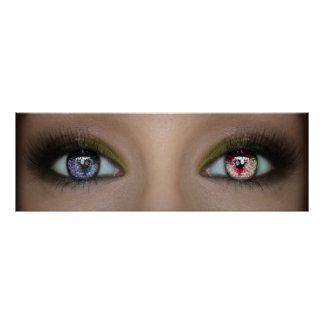 """Poster 36"""" X12"""", double extraordinaire a coloré des yeux"""