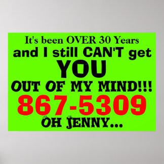 Poster 867-5309 affiche humoristique des années 80