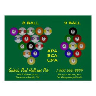 Poster 8 pièce de billard de support de boule de la boule