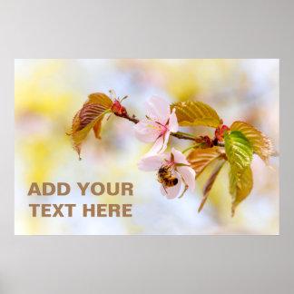 Poster Abeille sur une fleur de cerise