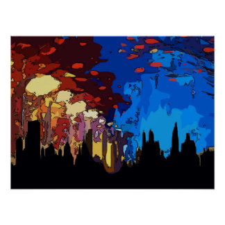 Poster Abrégé sur de New York de nuit étoilée