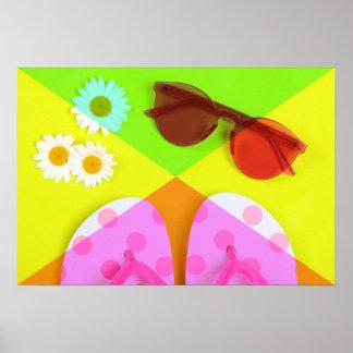 Poster Accessoires de vacances d'été