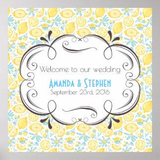 Poster Accueil à nos citrons et fleurs de mariage