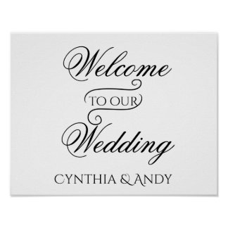 Poster Accueil à notre signe d'affiche de mariage
