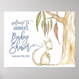 Poster Accueil australien de baby shower de kangourou des
