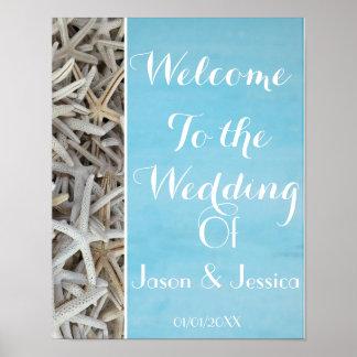 Poster Accueil blanc de mariage de plage de coquillage