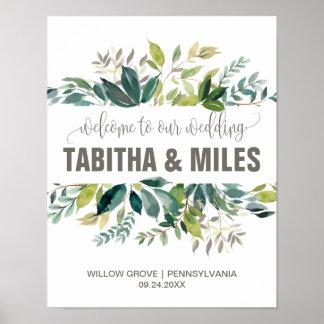 Poster Accueil de mariage de feuillage