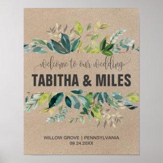Poster Accueil de mariage de feuillage de Papier