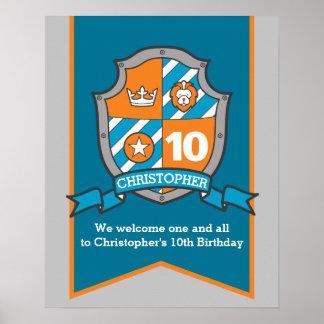 Poster Accueil héraldique de crête de 10ème anniversaire