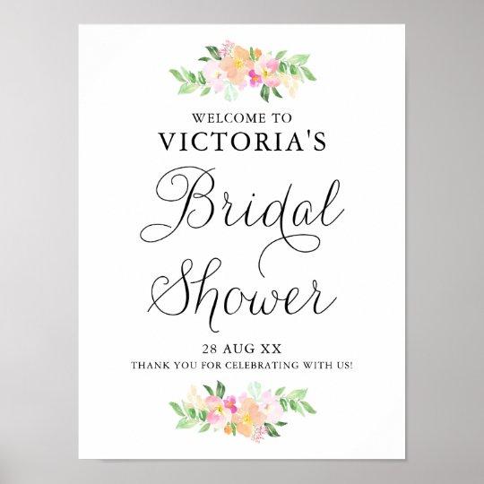 Poster Accueil nuptiale floral de douche d'aquarelle