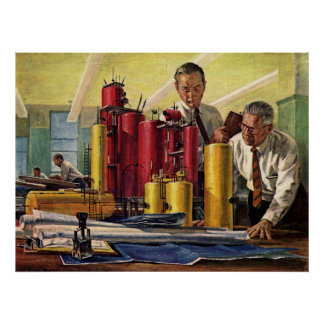 Poster Affaires vintages, architectes travaillant dans un