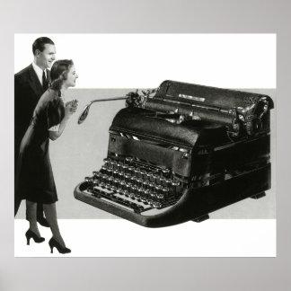 Poster Affaires vintages, machine à écrire antique de