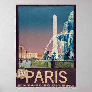 Poster Affiche 1930 de voyage de Paris de cru