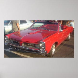 Poster Affiche 1966 de convertible de Pontiac GTO