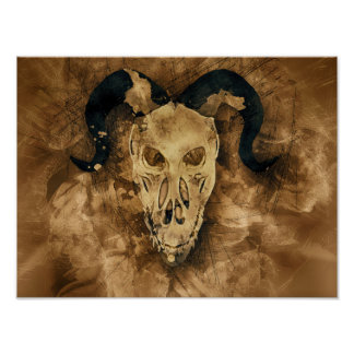 Poster affiche à cornes de crâne de démon