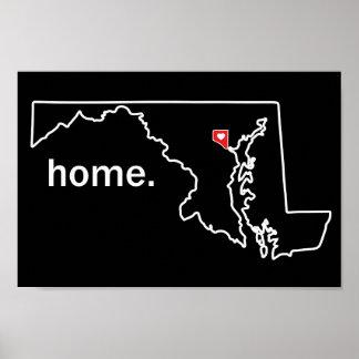 Poster Affiche à la maison du comté du Maryland - ville