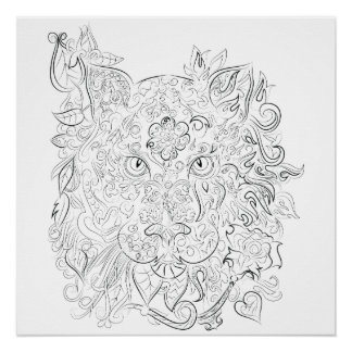 Poster Affiche adulte de coloration de dessin de tigre