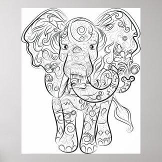 Poster Affiche adulte de coloration de dessin d'éléphant