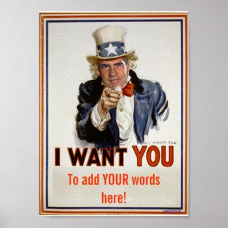 """Poster affiche """"ajoutez VOS mots"""""""