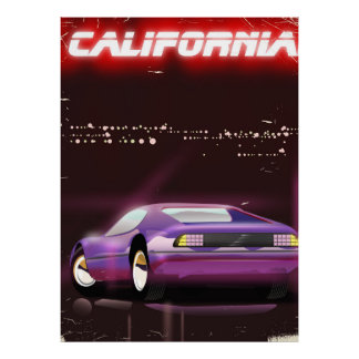 Poster Affiche au néon de Supercar des années 80 de la